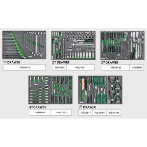 TOPTUL - Инструментална количка 7 чекмеджета, 5 оборудвани, зелена