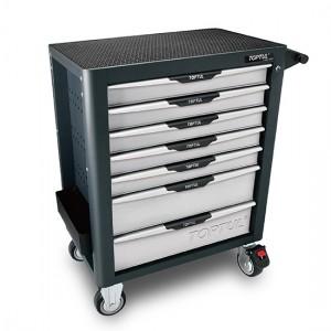 TOPTUL - Инструментална количка 7 чекмеджета, 5 оборудвани, сива