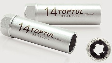 """TOPTUL - Вложка за свещи 3/8""""х14 mmm"""
