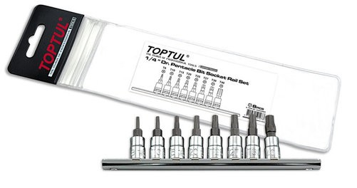 "TOPTUL - Комплект накрайници петограми 1/4"", 8 бр."
