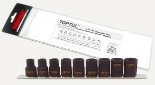 TOPTUL - Комплект вложки за повредени глави на болтове, 9 бр.