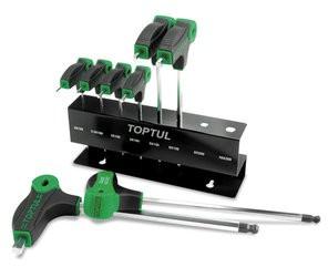 TOPTUL - Комплект Г-образни шестостени със заоблен край, с дръжка