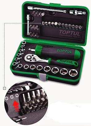 TOPTUL - Комплект 1/4 - тресчотка, вложки, удължения и други, 41 бр.