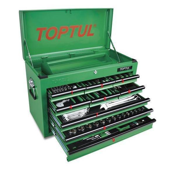 TOPTUL - Метално куфарче, зелено, 9 чекмеджета оборудвани