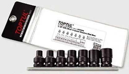 TOPTUL - Комплект вложки 1/2 E10-E24, ударни, 7 бр.