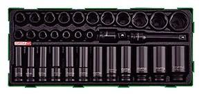 TOPTUL - Комплект ударни вложки, каре, удължение, 32 бр.