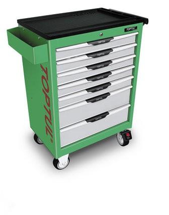 TOPTUL - Инструментална количка 7 чекмеджета сиви, зелена, празна