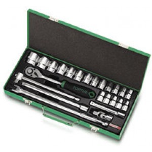 TOPTUL - Комплект тресчотка, вложки, 1/2 (24 бр.), метална кутия