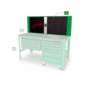 TOPTUL - Шкаф за инструменти, стенен, усилен