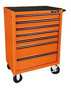 TOPTUL - Инструментална количка, 7 чекмеджета, 5 оборудвани, оранжева