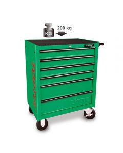 TOPTUL - Инструментална количка 6 отделения, зелена